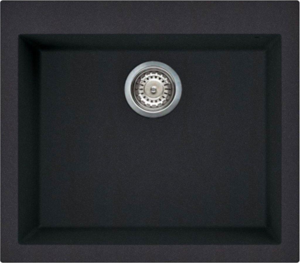 Dettagli su Lavello Cucina 1 Vasca Nero eff. Fragranite ELLECI 57 cm  LGQ10540 Quadra 105