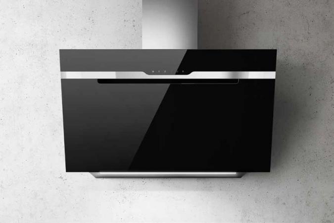 Elica cappa cucina aspirante parete 90 cm nero prf0116967 majestic
