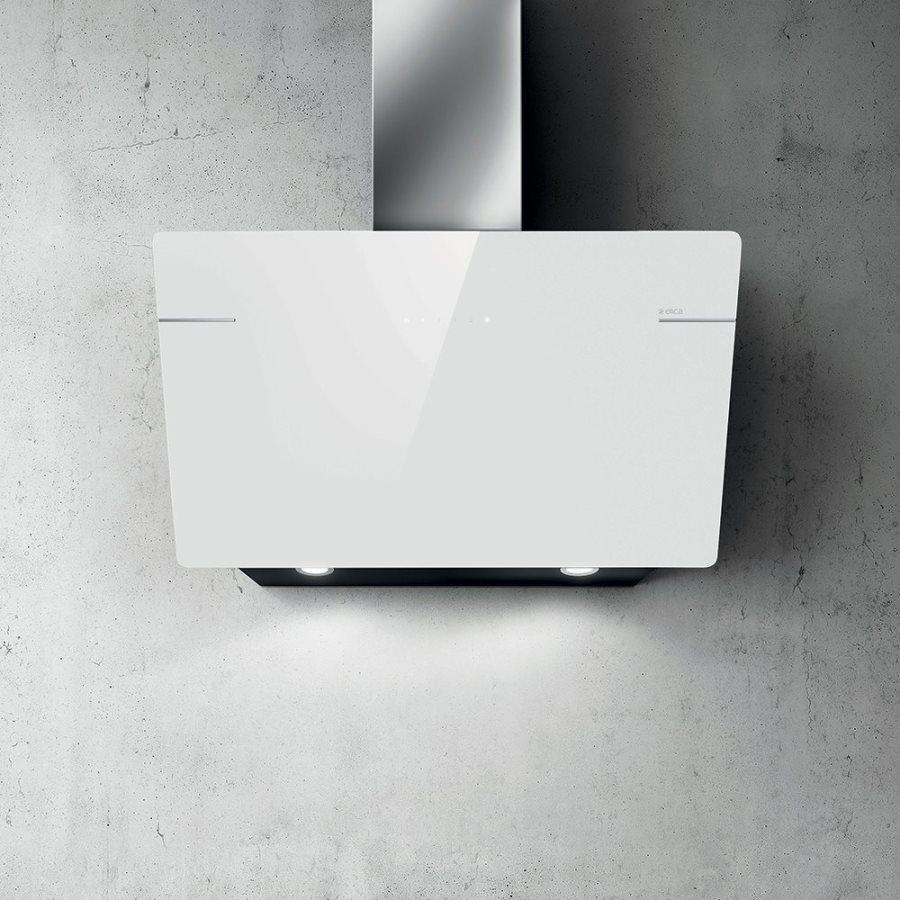Elica cappa cucina aspirante parete 90 cm bianco l 39 essenza - Scarico fumi cappa cucina a parete ...