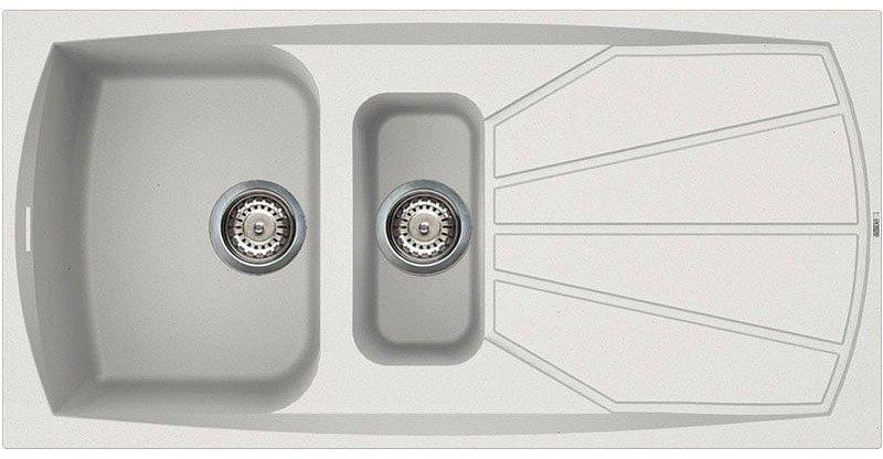 Lavello Cucina 1 Vasca e 1/2 Bianco eff. Fragranite ELLECI 100 cm ...