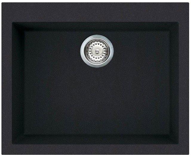 Lavello cucina 1 vasca nero eff fragranite elleci 59 cm for Lavello nero