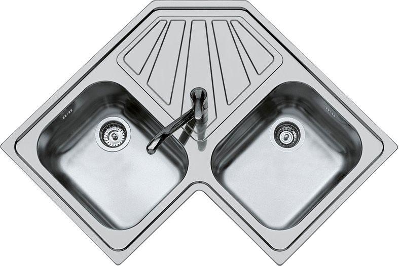 Dettagli su Lavello Cucina Angolare 2 Vasche 83 cm Acciaio Spazzolato  FOSTER 3307 060