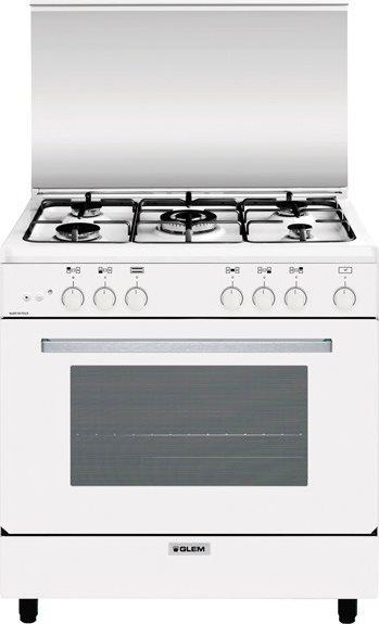 Cucina a gas 5 fuochi forno a gas grill 80x50 cm bianco - Consumo gas cucina ...