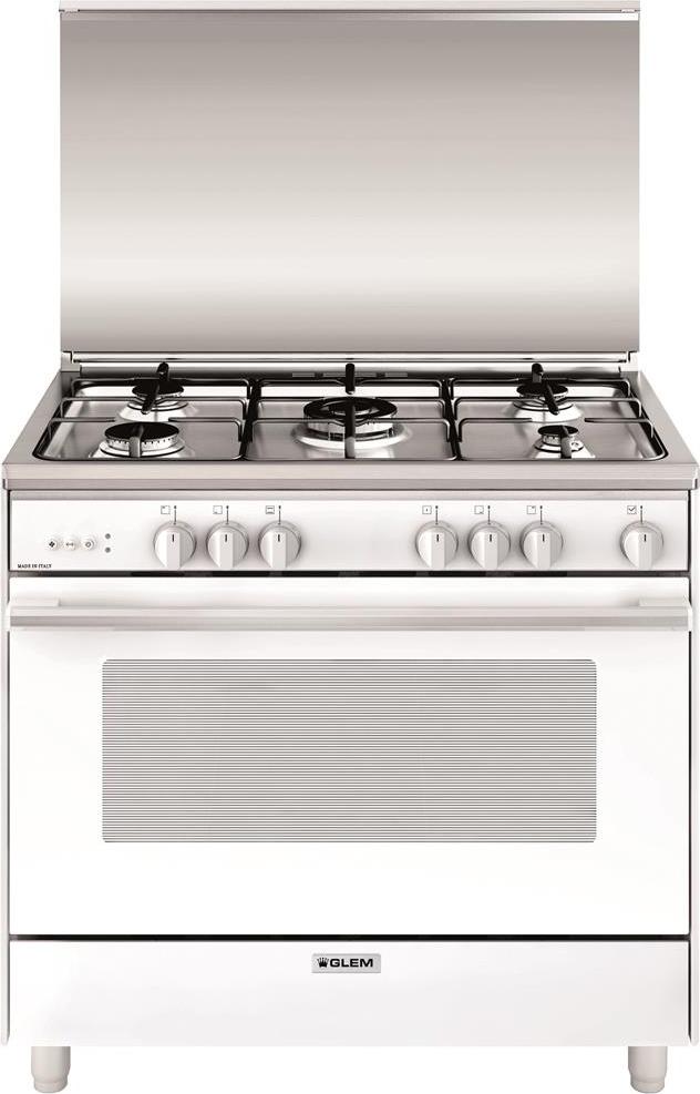 Dettagli Su Cucina A Gas 5 Fuochi Glem Con Forno A Gas Ventilato Grill 90x60 Cm U965vx