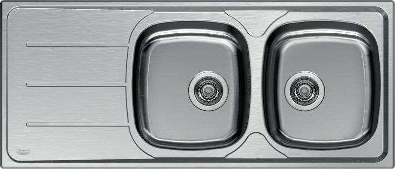 Dettagli su Lavello Cucina 2 Vasche Incasso Acciaio Inox Ariston 116 cm  SN116 M2SX