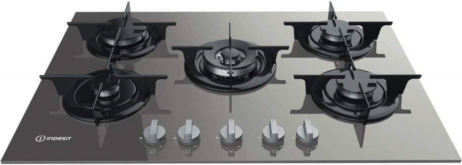 Dettagli su Piano Cottura 5 Fuochi Indesit a Gas Vetro L 75 cm Incasso  PR752W/ITD