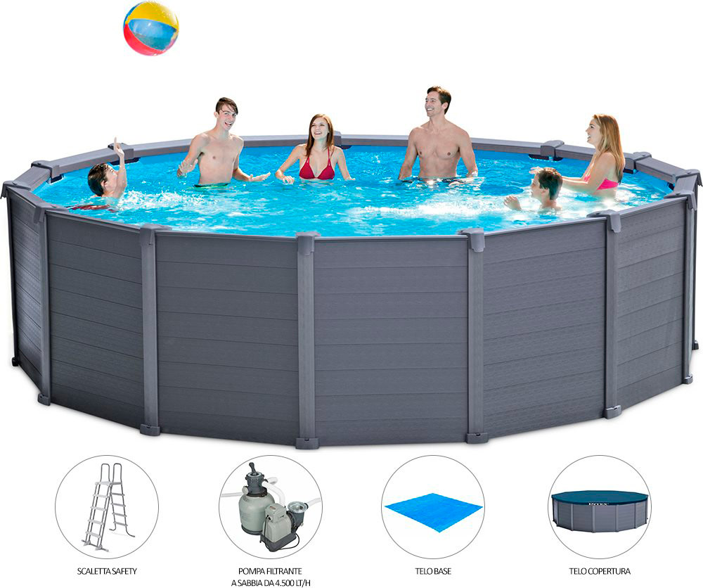 Piscina fuoriterra rigida rotonda intex fuori terra cm for Piscina intex rotonda