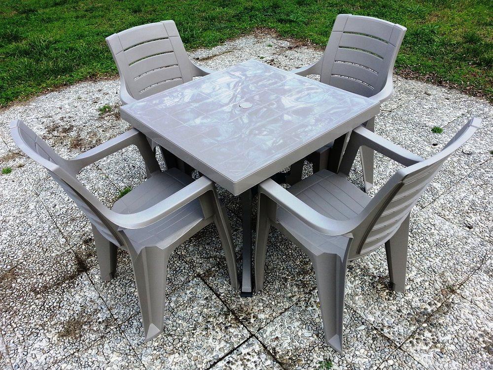Tavolo da giardino in resina tavolino quadrato cm p a s
