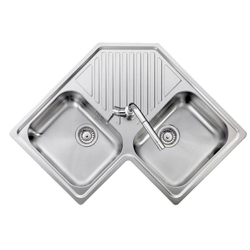 Dettagli su Lavello Cucina 2 Vasche Acciaio Inox Angolare 83 cm Plados  LISP838320S Refresh