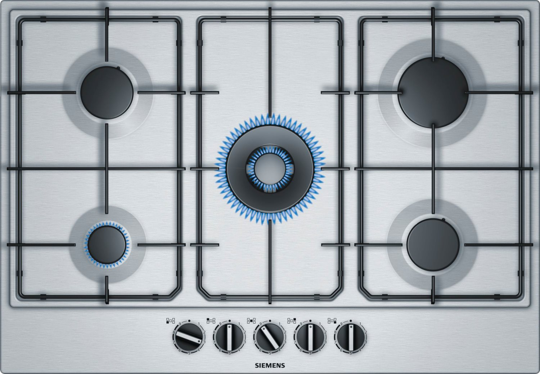 siemens piano cottura 5 fuochi incasso a gas (1 turbowok) 75 cm inox