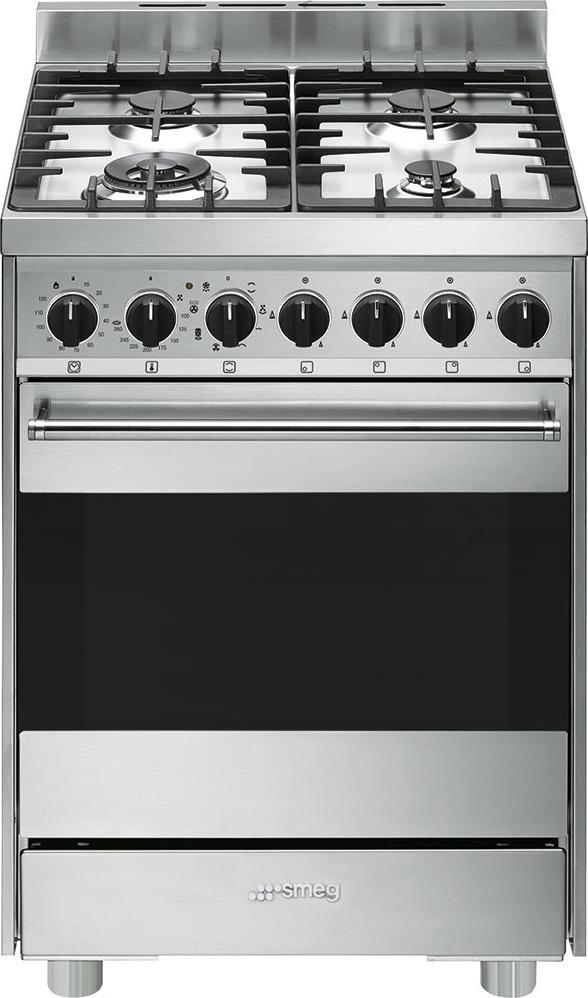 Smeg Cucina a Gas 4 Fuochi Forno Elettrico Ventilato Grill 60x60 cm ...