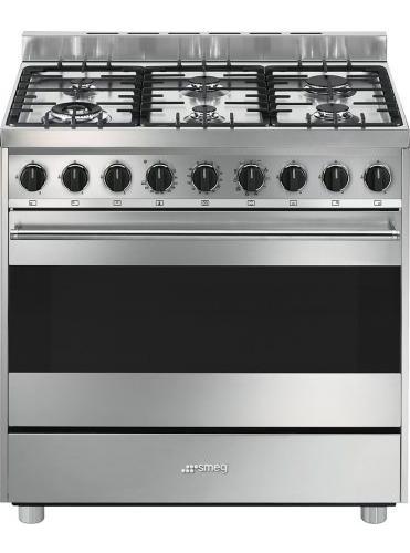 Smeg cucina a gas 6 fuochi forno elettrico ventilato 90x60 cm a inox b9gmxi9 ebay - Consumo gas cucina ...