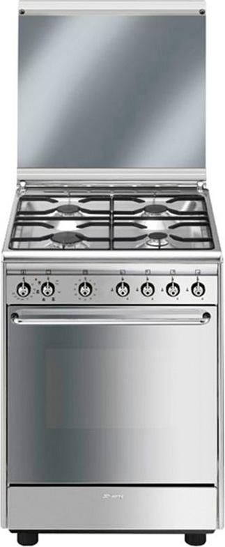 Dettagli su Cucina a Gas 4 Fuochi Smeg con Forno Elettrico Ventilato Grill  60x60 cm Cx60SV9