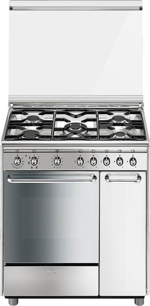 Smeg Cucina a Gas 5 Fuochi Forno Elettrico Ventilato Grill 80x50 cm ...
