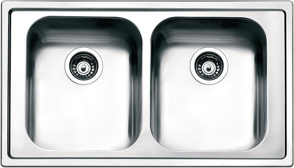 Dettagli su Lavello Cucina 2 Vasche Incasso Acciaio Inox Smeg 86 cm  Spazzolato LPE862