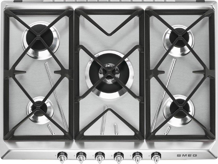 Dettagli su Piano Cottura 5 Fuochi Smeg a Gas 70 cm Incasso Inox SR975XGH  Victoria