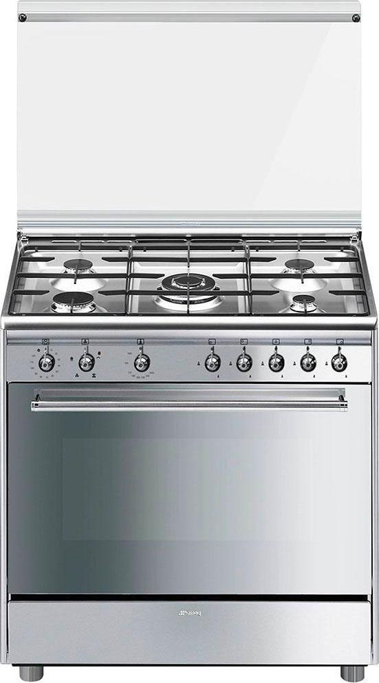 Smeg Cucina a Gas 5 Fuochi Forno a Gas Ventilato Grill 90x60 cm Inox ...