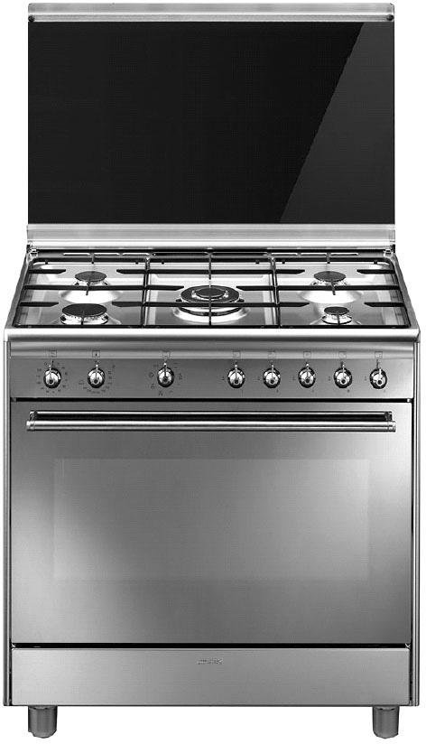 Smeg Cucina a Gas 5 Fuochi Forno Elettrico Ventilato Grill 90x60 cm ...