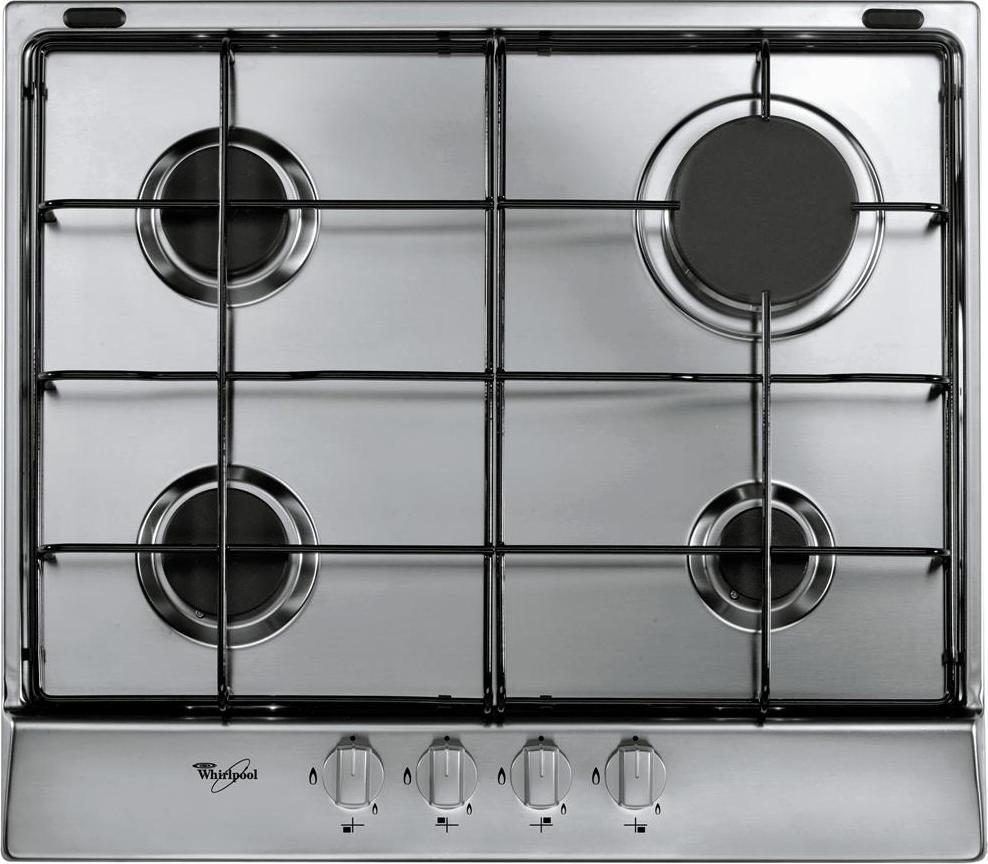 Dettagli su Piano Cottura 4 Fuochi Whirlpool a Gas 60 cm Incasso Inox AKR  350/IX Square