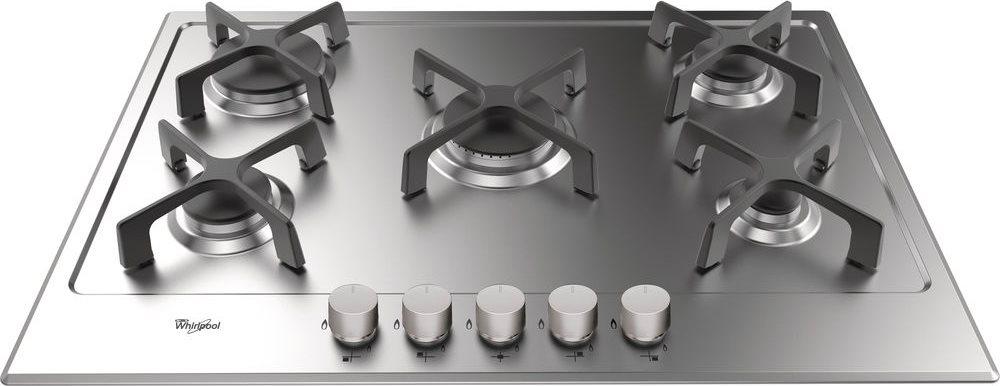 Dettagli su Piano Cottura 5 Fuochi Whirlpool a Gas 75 cm Incasso Griglie  Ghisa GMA 7514/IXL