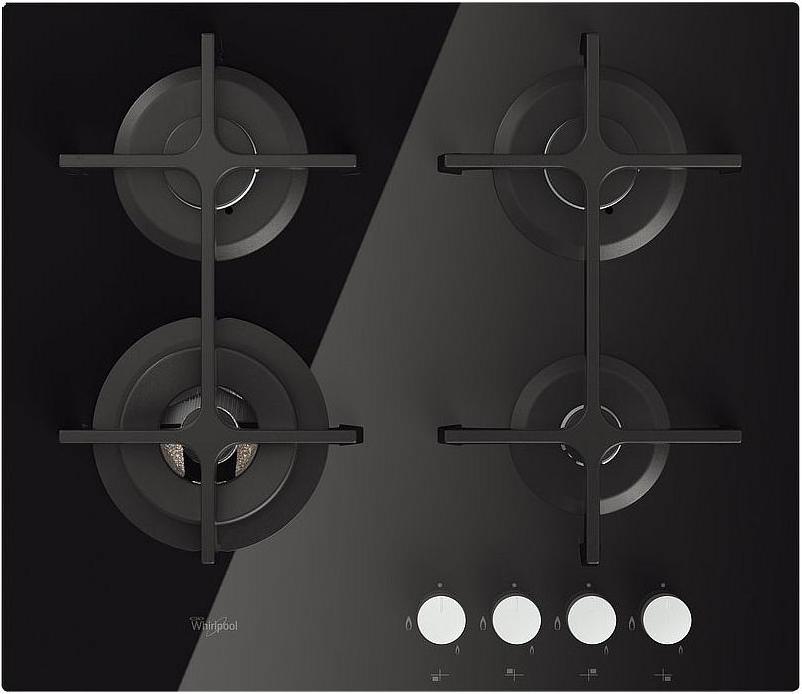 Piano Cottura 4 Fuochi Nero Vetro Whirlpool a Gas 60 cm Incasso ...