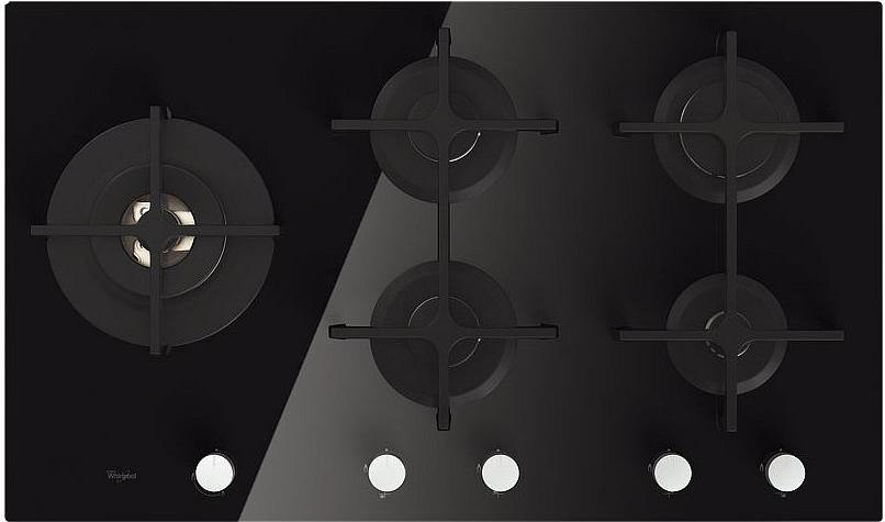 Piano Cottura 5 Fuochi 90 cm Incasso Nero Vetro Whirlpool a Gas ...